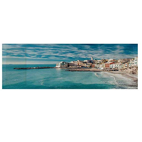 """Farm House Decor Microwave Oven Cover,Panorama of Old Italian Fish Village Beach Old Province Coastal Charm Cover for Kitchen,36""""L x 12""""W"""