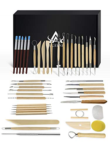 Ceramic Clay Tools, 45PCS Pottery Sculpting Tools Set for Beginners Professional Art Crafts, Wood and Steel, Schools and Home Safe for Kids, by Augernis (Tools Kemper Ceramic)