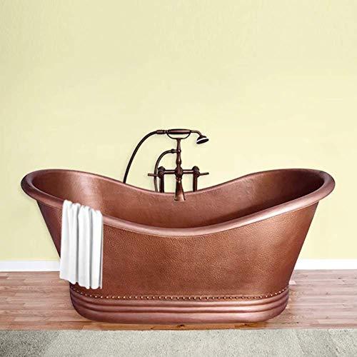 "72"" Vista Copper Double-Slipper Roll-Top Tub with Pedestal"