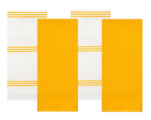 Terry Kitchen Dish Towel, Yellow, 4 Pack, 28 in x 16 in (Terry Dish Towel)