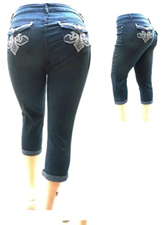 1826 Women's PLUS SIZE Stretchy HI WAIST Denim JEANS CAPRI DARK BLUE & BLACK (20, BLUE)