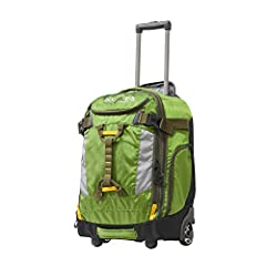 "The cascade 20"" outdoor upright carry-on w/ hideaway backpack straps is constructed with jacquard polyester and includes a high quality push button locking handle system with dual supported inline skate wheels for the most adventurous travele..."