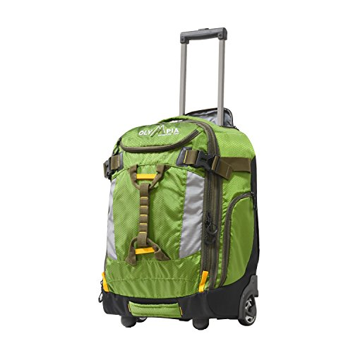 "Olympia Cascade 20"" Outdoor Upright Carry-on W/Hideaway Backpack Straps, Green"