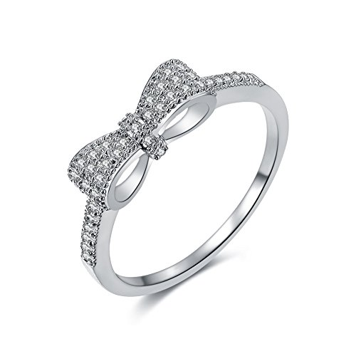 Redbarry 18k Platinum Plated Cute Bow Knot Tiny CZ Paved 5mm Engagement Rings for Girls, Size 7 - 18k Pave Diamond Ring