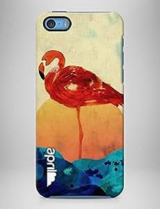 """april® Funda carcasa para iPhone 5C, """"Flamingo Island"""" diseño exclusivo de la diseñadora Cayena Blanca"""