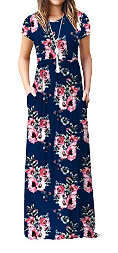 Viishow Women's Short Sleeve Floral Dress Loose Plain Maxi Dresses Casual Long Dresses with Pockets(Floral Navy Blue XL)