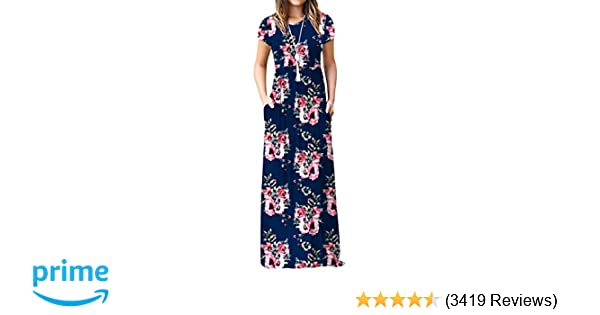 42d8b2ea3a Viishow Women's Short Sleeve Loose Plain Maxi Dresses Casual Long Dresses  with Pockets at Amazon Women's Clothing store:
