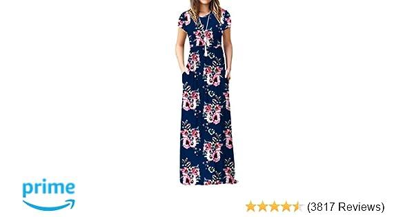 237216b65dbd Viishow Women's Short Sleeve Loose Plain Maxi Dresses Casual Long Dresses  with Pockets at Amazon Women's Clothing store: