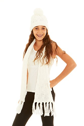 Crush Girls Winter Classic Cable Knit Po - Knit Hat Scarf Pattern Shopping Results