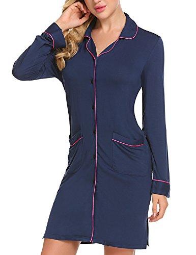 Button Front Nightshirt - Ekouaer Women's Sexy Sleep Shirts Plus Size Boyfriend Nightgown