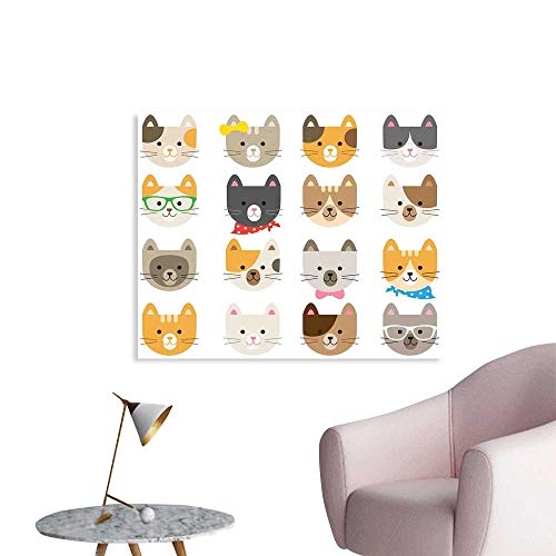 J Chief Sky Kids Poster Print Cats Costume with Glasses Bow Tie Bandanna Cartoon Art Craft Pattern Print Pets Animal Lov Wall Decals for Kids W36 (Klimt The Kiss Costume)