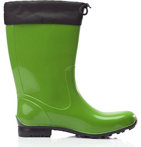 Mujer de Antideslizantes Goma LA Seguridad Ladeheid 968 Negro Originales Zapatos de Botas Verde RUy8wqH