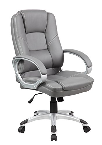 KERLAND Mid Back PU Leather Computer Office Boss Executive Manager Chair with Headrest,Grey (Managerial Mid Back Leather Chair)