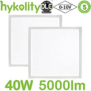 Hykolity 2x2 FT 40W 5000K Flat LED Troffer Panel Light, 0-10V Dimmable Drop Ceiling Flat Panel, Recessed Edge-Lit Troffer Fixture, Eligible for Nationwide Rebate Programs, 5000lm DLC Premium- 2 Pack