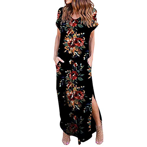 (Hot!Woman's Flower Print Slit with Pocket Beach Dress Ninasill Short Sleeve Long Smock Bohemia Vintage Vacation Mini Skirt Black)