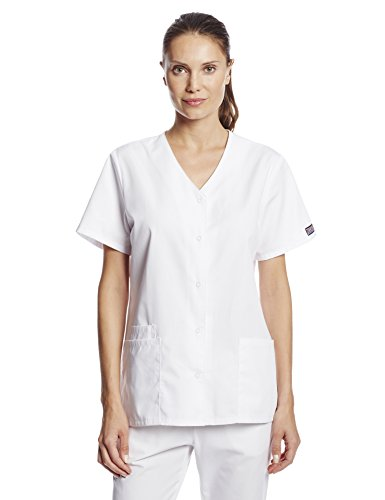 Cherokee Women's Workwear Snap Front V-Neck Scrubs Shirt, White, X-Small