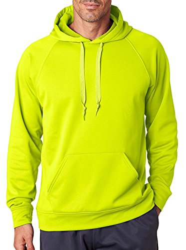 Jerzees PF96 Adult Sport Tech Fleece Hooded Pullover Sweatshirt - Safety Green, (Adult Jerzees Sweatshirt)
