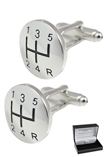 COLLAR AND CUFFS LONDON - Premium Cufflinks with Gift Box - Gear Stick with A Domed Face - Perfect for Car Lovers - Brass - Round Gear Knob Shift - Silver Colour ()