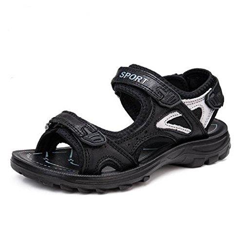 en Glace Noir Femmes Bluelover Chaussures 7 9 Essuie 5 Noir Plage Doux Us Taille Plat Sandales Sports Cuir Loisirs Outdoor 6Hqv6