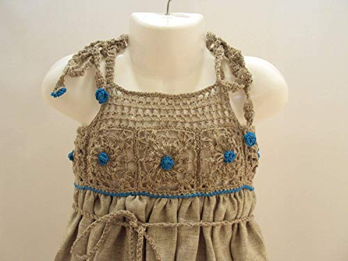 0mnths-2T wedding baby, linen baby dress, dress with blue, blu and grey dress girl baby photo drop (Princess Dress Sew)