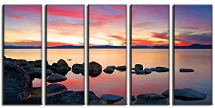9557fb9689e Framed Art 5 Piece Large Framed Split Sunset Ocean Sea Seascape Panel Canvas  Painting Picture Pic