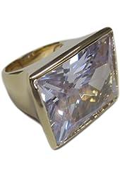Huge Sideways Clear Radiant Cut CZ Gold Tone Fashion Ring