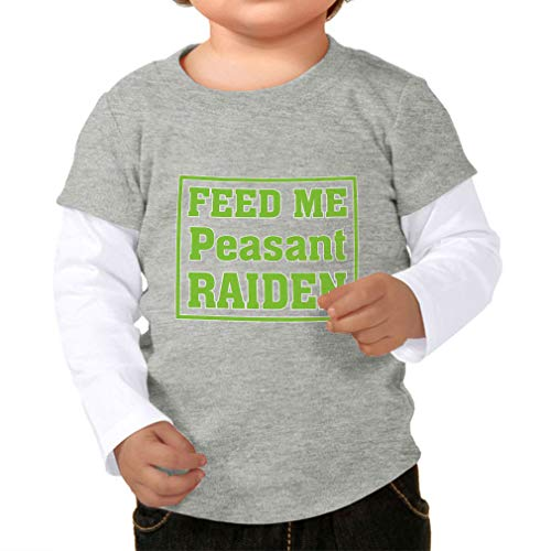 Cute Rascals Feed Me Peasant Raiden Taped Neck Boys-Girls Toddler Cotton Long Sleeve Twofer Shirt - Heather Gray White, 12 Months