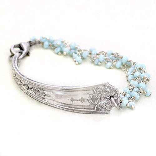 Beaded Silverware Jewelry Vintage Spoon Bracelet - 1925 Oneida Niagra Silverplate Pattern