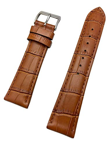 22mm Honey Brown Genuine Leather Watch Band | Square Alligator Crocodile Grain, Lightly Padded Replacement Wrist Strap That Brings New Life to Any Watch (Mens Standard -