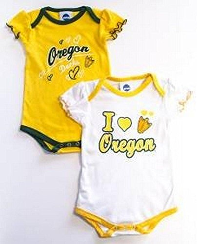 NCAA Officially Licensed Oregon Ducks Girls White And Green 2pk Bodysuit Creeper Set (12 Months)