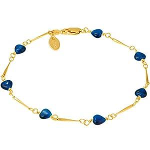 Lifetime Jewelry Blue Hearts Anklet for Women & Teen 24k Gold Plated Bracelet