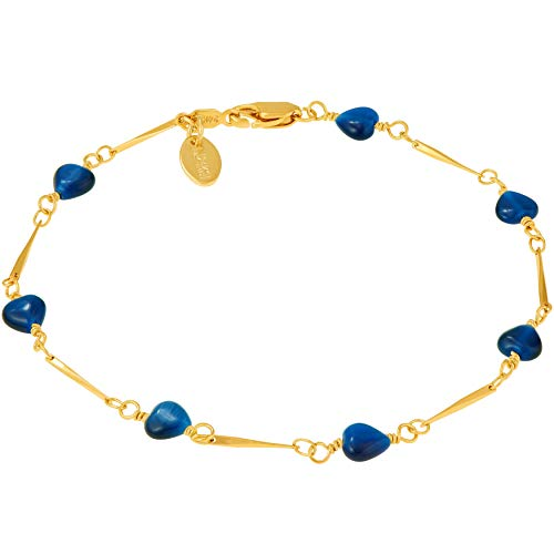 (Lifetime Jewelry Ankle Bracelets for Women Men and Teens [ 24k Gold Plated Blue Hearts Anklet ] Cute & Durable Foot Jewelry for Beach or Party with Free Lifetime Replacement Guarantee (9.0))
