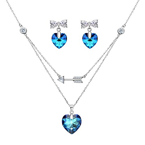 Crystal Earrings Necklace Strand Swarovski - EleQueen 925 Sterling Silver Cupid's Arrow Love Heart Bowknot Strand Pendant Necklace Earrings Set Bermuda Blue Made with Swarovski Crystals