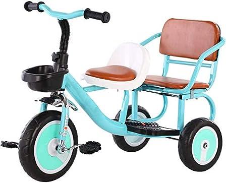 Knoijijuo Ciclomotores De Tres Ruedas Triciclo Se Puede Unir A La Gente Doble Cochecito De Bebé Asiento De La Bicicleta De Dos Asientos Confortables Juguetes Suaves,Azul