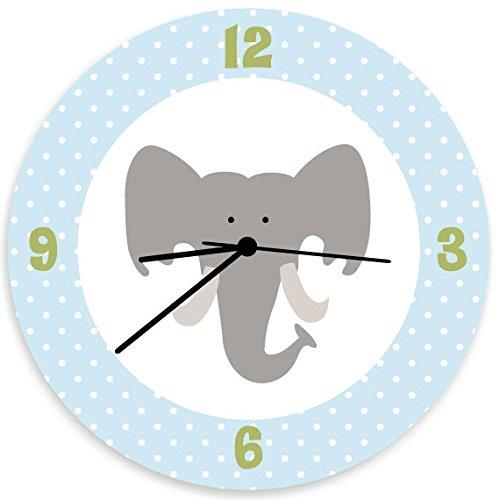 Elephant Children Wall Clock, Nursery Wall Hanging with Elephant Head