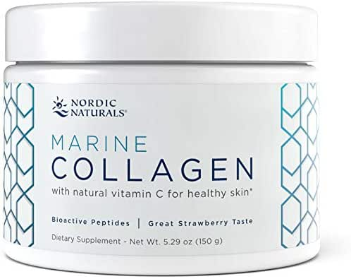 Nordic Naturals Marine Collagen Powder - Supports Healthy Skin and Helps Stimulate Collagen-Producing Cells Throughout the Body, 4,200 mg Collagen Peptides Per Serving, Strawberry, 150 g (30 servings)