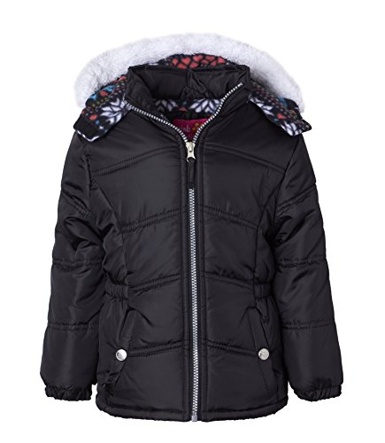 Pink Platinum Little Girls Hooded Winter Bubble Jacket Coat Matching Hat & Scarf, Black, 4 by Pink Platinum (Image #2)