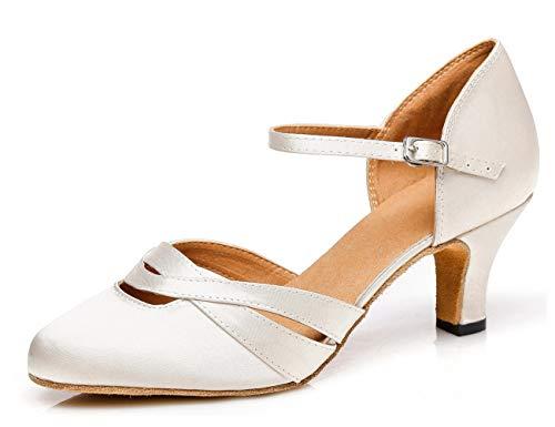 Minishion Women's TH152 Comfortable Low Heel Ivory Satin Wedding Ballroom Latin Taogo Dance Pumps Shoes 8.5 M US