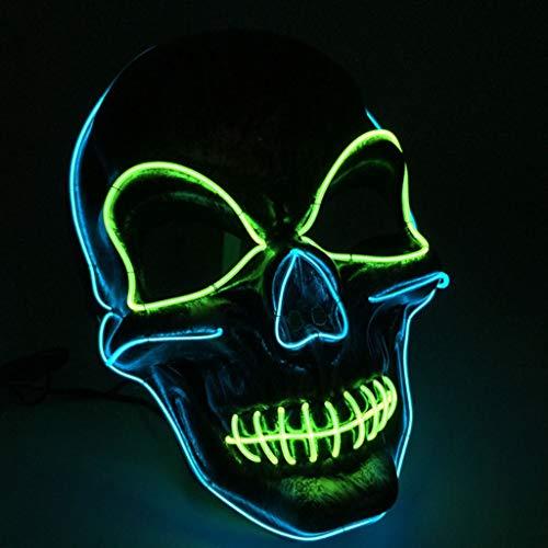 Kays Mascaras de Halloween Esqueleto Máscara De Terror, LED Light Up Mask Festival Halloween, Máscara Halloween para Fiesta De Disfraces De Halloween, ...