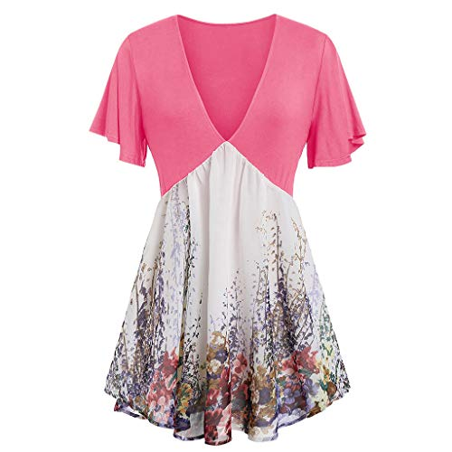 - 〓Londony〓 Womens Basic Solid Loose Fit Short Sleeve Tunic T Shirt Pullover Tunic Swing T-Shirt Dress Floral Print Dress Pink