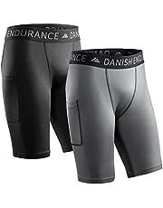 DANISH ENDURANCE Compressieshorts voor Heren, Trainingsshorts, Trainingstights met Zak, Ademende Basislaag voor Hardlopen en Training, set van 2