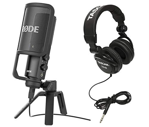 (Rode NT-USB Versatile Studio-Quality USB Cardioid Condenser Microphone with Tascam TH-02 Closed Back Studio Headphones, Black)