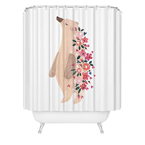 (Bear Wildlife Shower Curtain Springtime Flowers Outdoor Inspiration Bathroom Decor, Cute Woodland Animal Floral Watercolor Kids Bathroom Mold Resistant Fabric Curtain 71x 74)