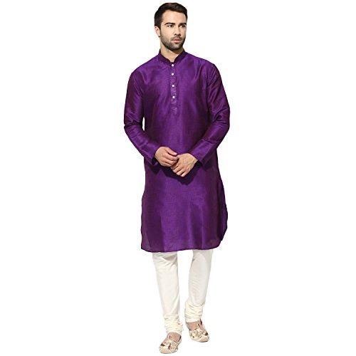 KISAH Men's Indian Dupion Silk Striped Long Kurta 40 Purple for Wedding & Festive Season