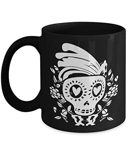 Skeleton Day Of The Dead Coffee Mug | Dia De Los Muertos Skull Design Halloween Accessory | Birthday Christmas Gift Idea Black 11oz Ceramic]()