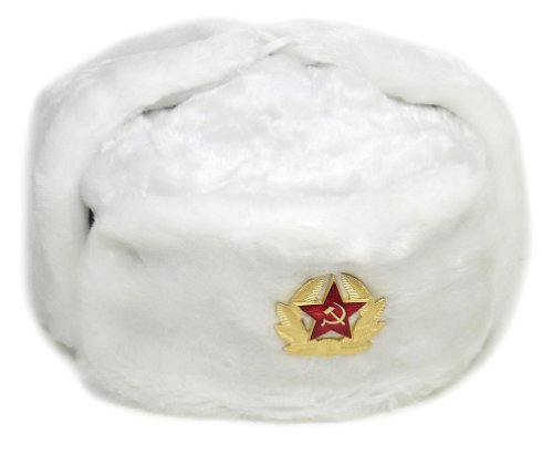 rmy KGB * Fur Military Cossack Ushanka WHITE/SMALL (metric 56) ()