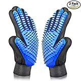 YiquTech Pet Grooming Glove - Gentle Deshedding Dog Brush,Efficient Pet Hair Remover Mitt - Massage Tool with Enhanced - Perfect for Dogs & Cats with Long & Short Fur(One Pair)