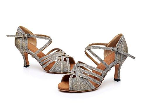 Ballroom Heel Shoes Rumba Peep Latin Fabric Cross Sandals Wedding Salsa Tango Denim Style Modern 5cm Women's MGM Grey 7 Dance Weave Strap Toe Party Samba Joymod 6xqqwC4