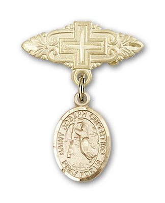 ReligiousObsession's 14K Gold Baby Badge with St. Joseph of Cupertino Charm and Badge Pin with Cross by Religious Obsession