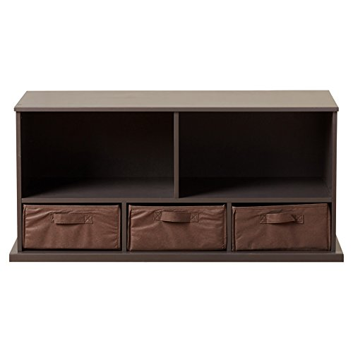 stackable Wooden Storage Cubby Unit Bedroom Bench with 3-Baskets in Espresso by Viv + Rae